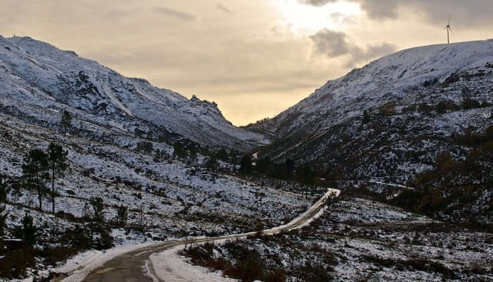 mountains and road with snow
