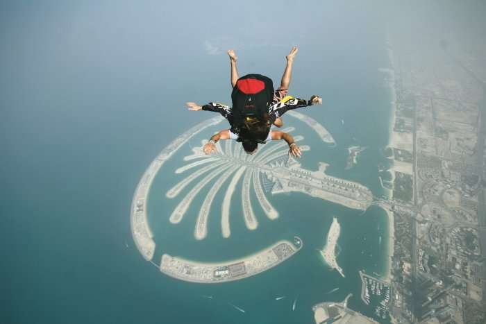 diver over palm jumeirah