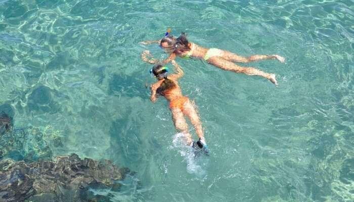 two women snorkeling