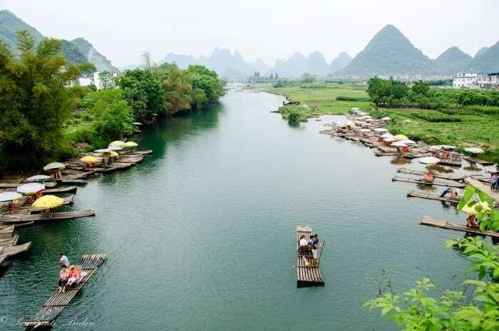 Bamboo boat ride