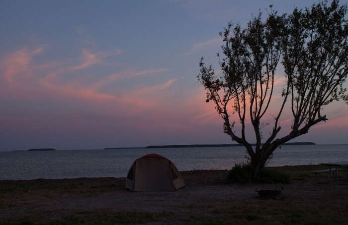 Camping in coastal area