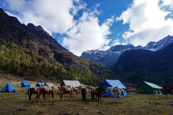 A camping site in Bhutan