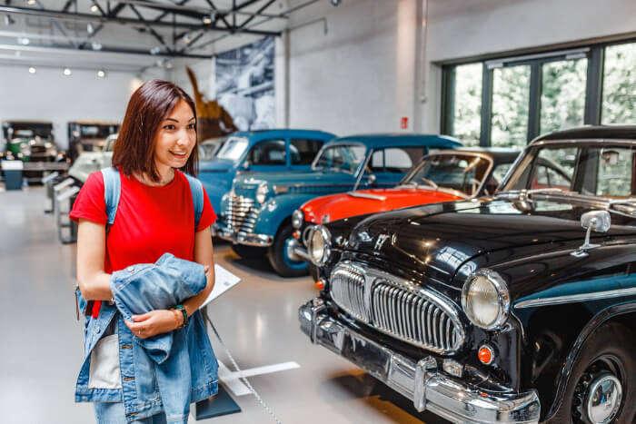 A vintage car museum