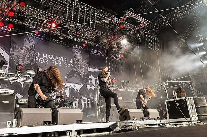 metal band performing