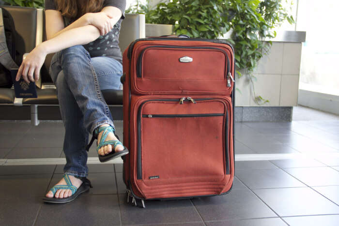 A traveler with luggage