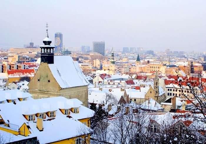A view of Bratislava in winter