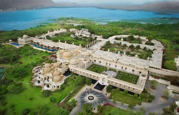 aerial view of oberoi udaivilas
