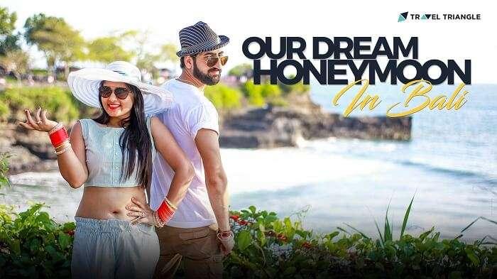 bali honeymoon couple posing