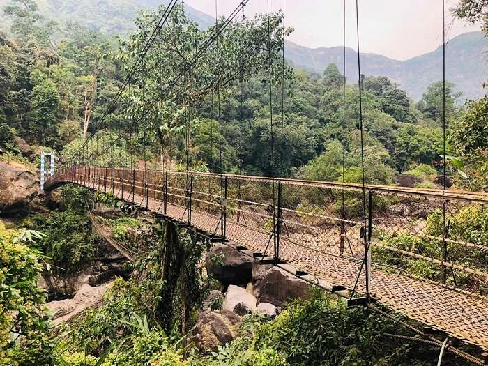 old suspension wire bridge