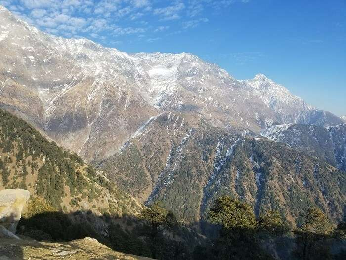 view of the triund himalayas