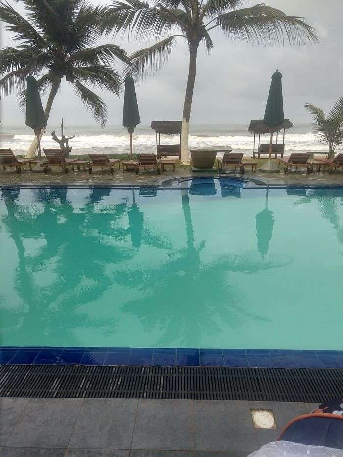 pool overlooking beach