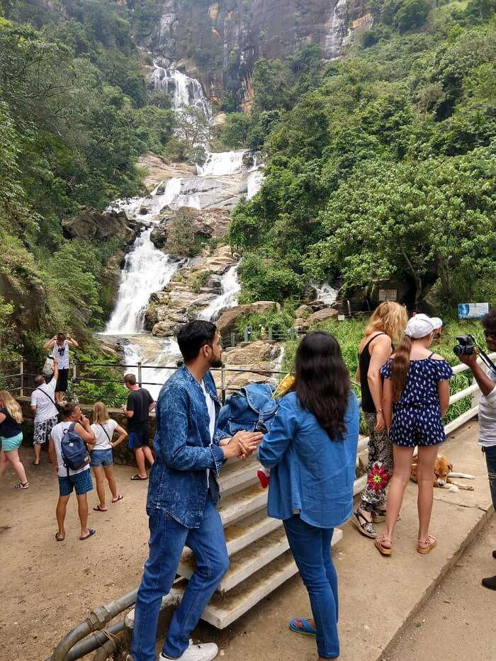 outside the waterfall in kandy
