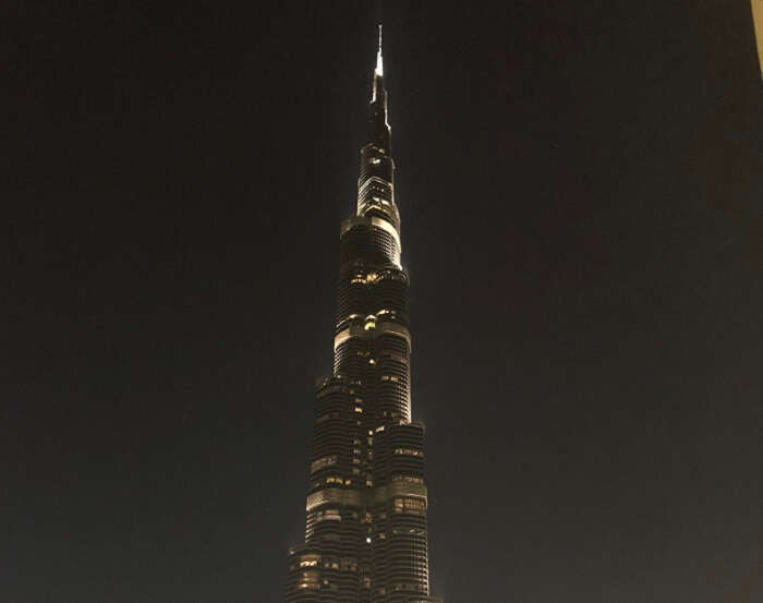 view of the Burj Khalifa in night