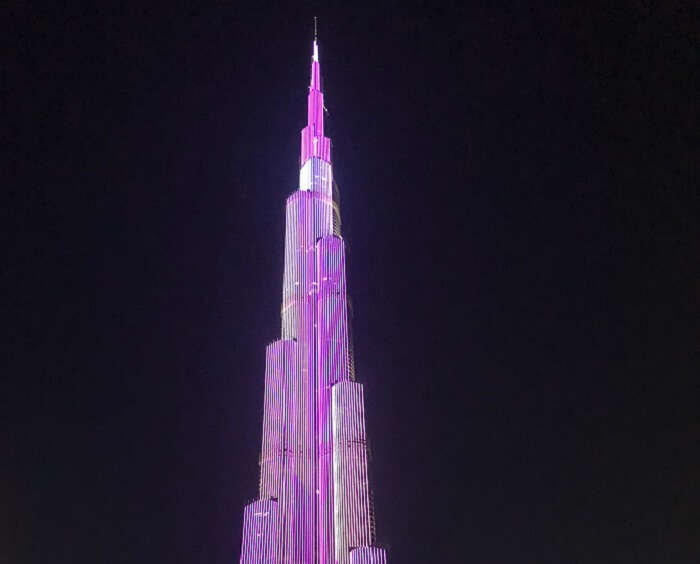night show lighting on Burj Khalifa