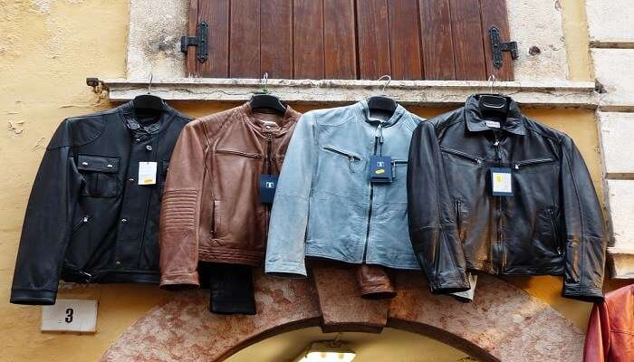 leather jackets on a hanger
