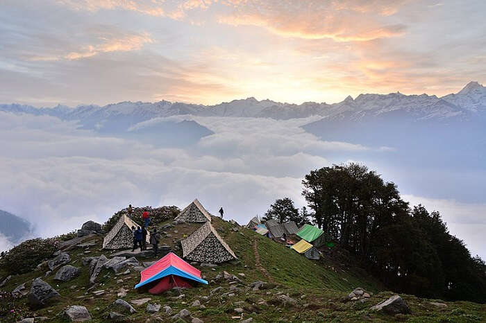small tents overlooking the mountains