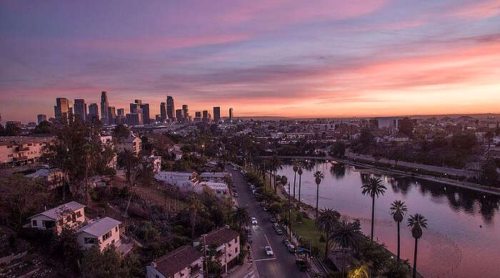Los Angeles skyline view from above
