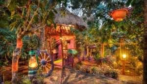 colorful cottage in a resort