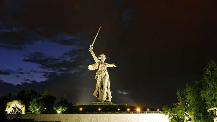 motherland statue in night light