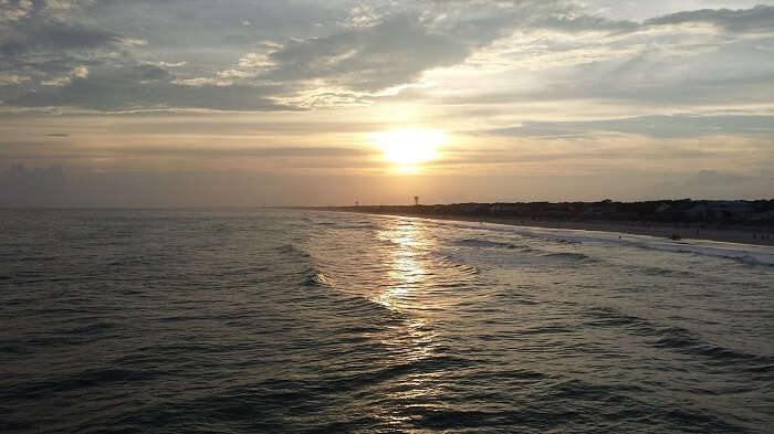 sunset at oak island