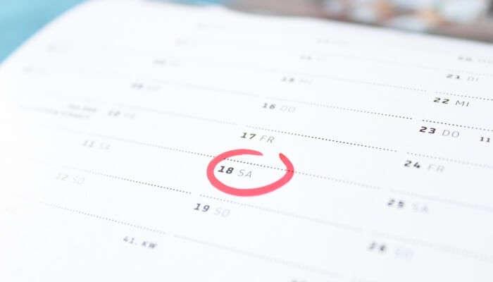 date marked on a calendar