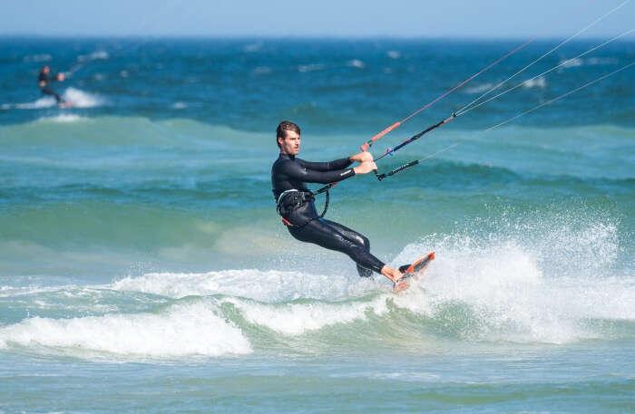 Kitesurfing in water