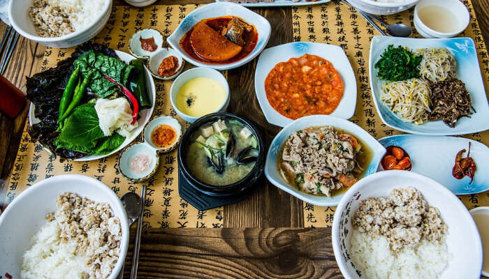 Table full of Korean Food