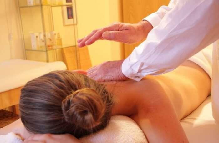 Girl taking massage