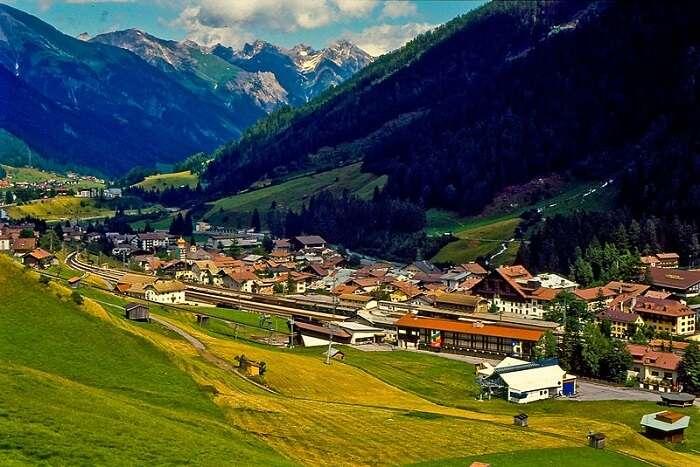 green landscapes of village in Austria