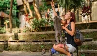 girl playing with a monkey in a zoo