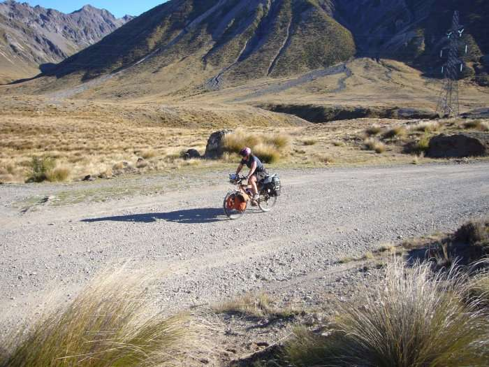 cyclist in south island