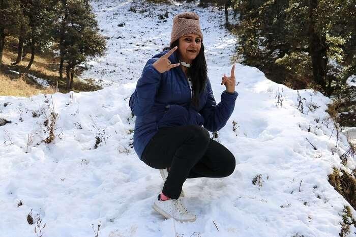 having fun in snow fall
