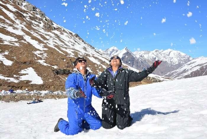Rohtang enjoying snow