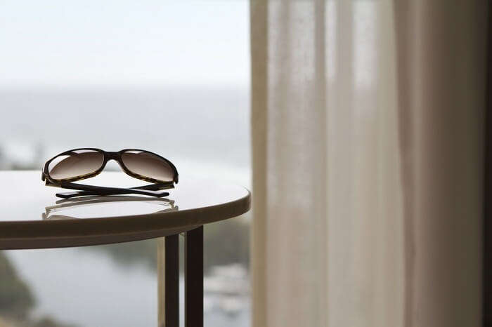 sunglasses in hotel room