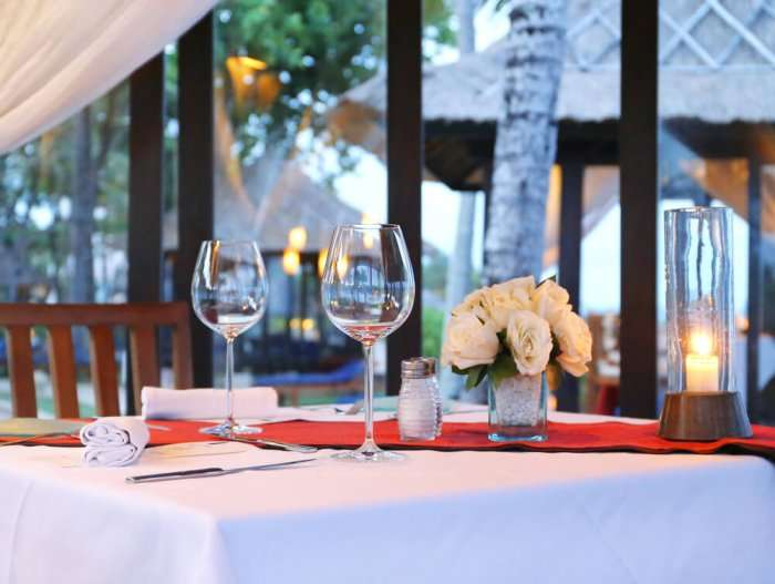 wine glass and table set up in mauritius