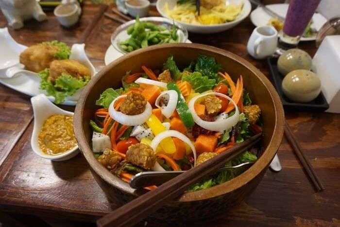 vegan food and chopsticks