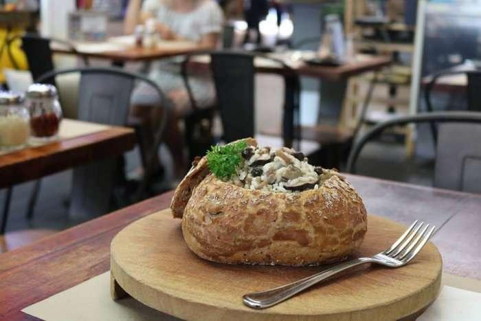 mushroom risotto in trattoria