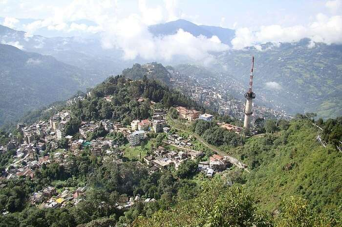 view from above of Gangtok