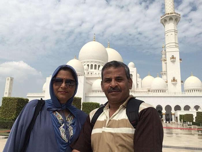 at the famous Dubai mosque
