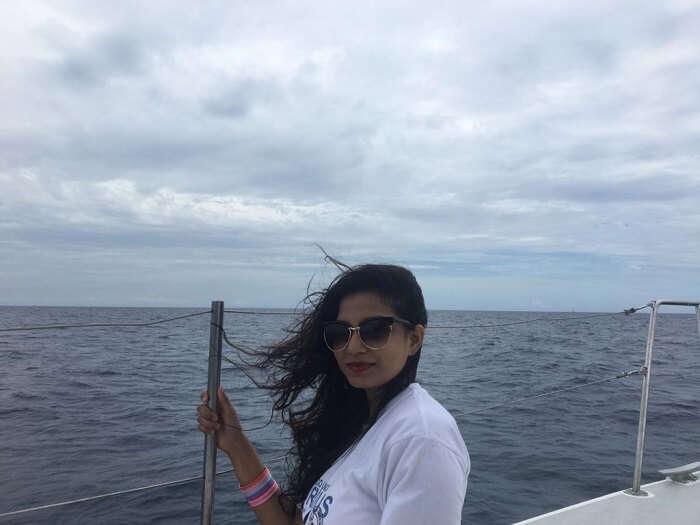enjoying the day on the cruise