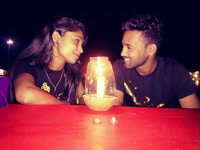 candle light dinner with wife