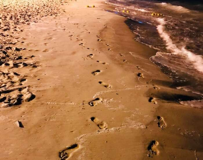 walking footsteps on the beach