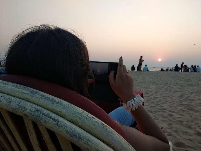enjoying the sunset view