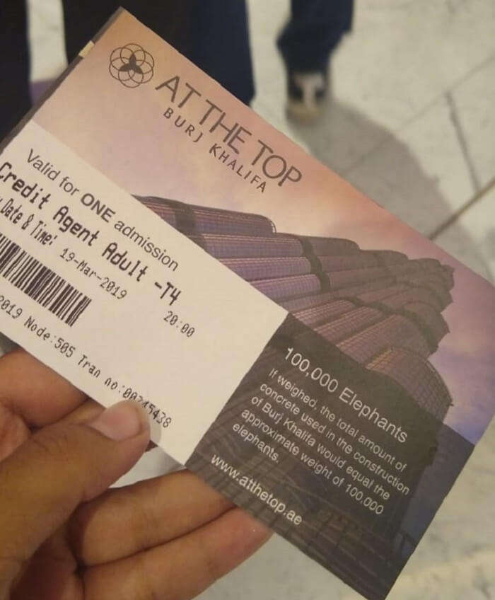 ticket to the burj khalifa