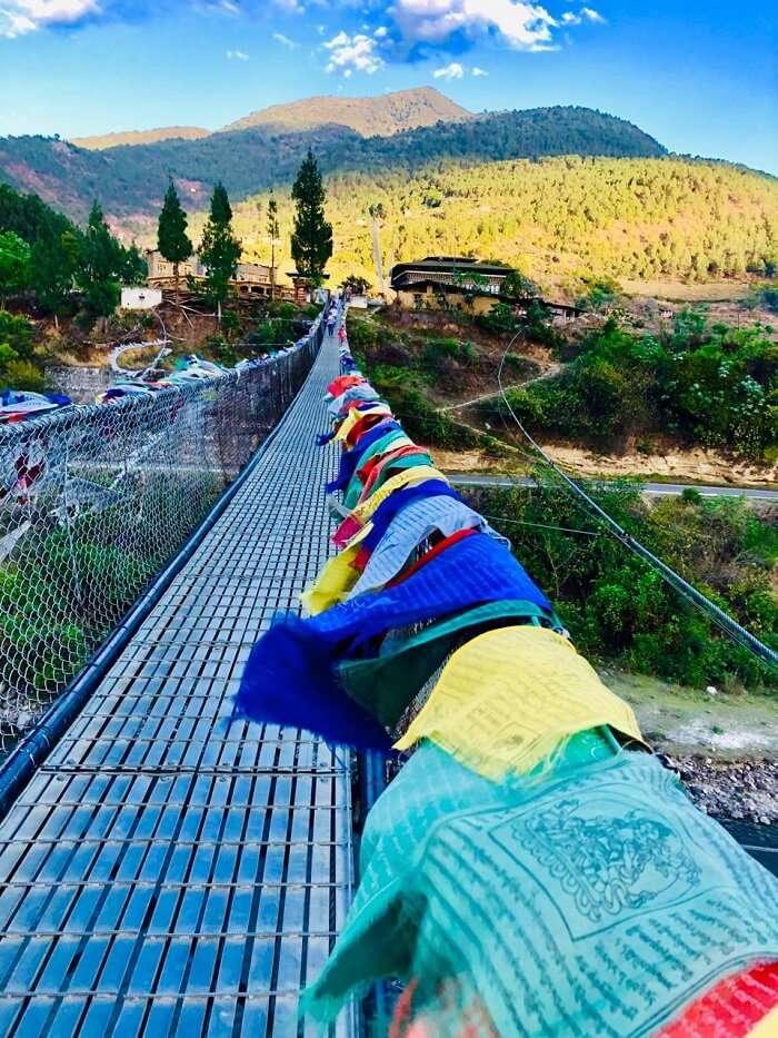 the famous bridge of Bhutan