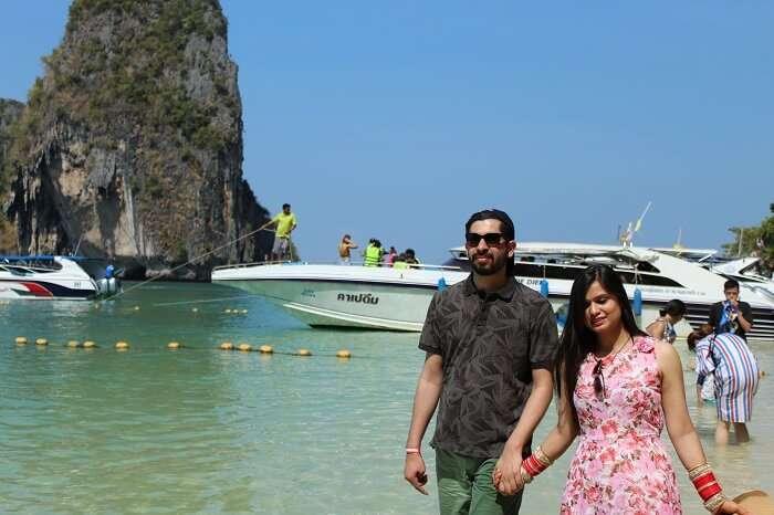 beach walk with partner