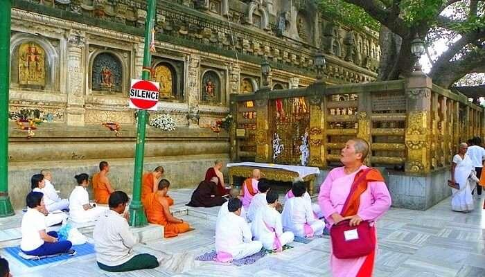 Meditating At Mahabodhi Temple Complex