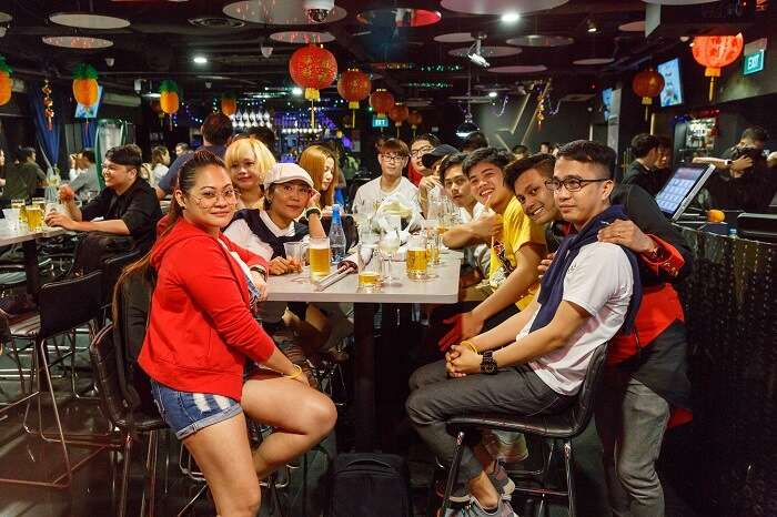 People drinking at Brotzeit in Singapore