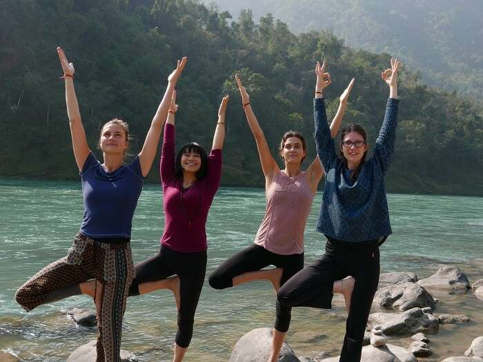 yoga by Ganga river