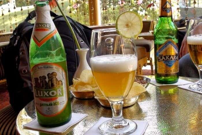 A break at Mena House, tasting local beer